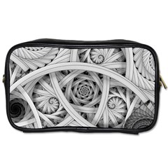 Fractal Wallpaper Black N White Chaos Toiletries Bags 2 Side