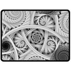 Fractal Wallpaper Black N White Chaos Fleece Blanket (large)
