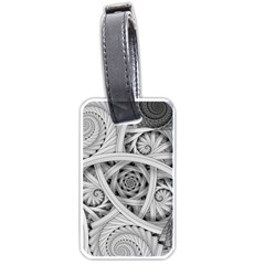 Fractal Wallpaper Black N White Chaos Luggage Tags (one Side)