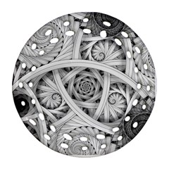 Fractal Wallpaper Black N White Chaos Round Filigree Ornament (Two Sides)