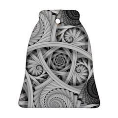Fractal Wallpaper Black N White Chaos Bell Ornament (two Sides)