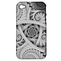 Fractal Wallpaper Black N White Chaos Apple iPhone 4/4S Hardshell Case (PC+Silicone)