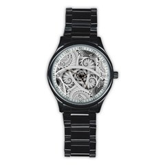 Fractal Wallpaper Black N White Chaos Stainless Steel Round Watch