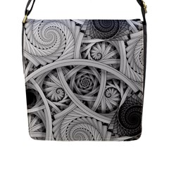 Fractal Wallpaper Black N White Chaos Flap Messenger Bag (L)
