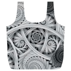 Fractal Wallpaper Black N White Chaos Full Print Recycle Bags (l)