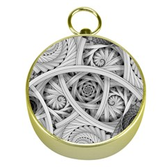 Fractal Wallpaper Black N White Chaos Gold Compasses