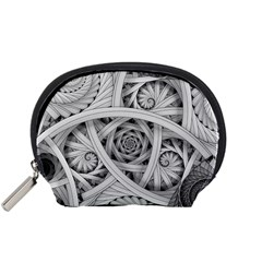 Fractal Wallpaper Black N White Chaos Accessory Pouches (small)
