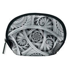 Fractal Wallpaper Black N White Chaos Accessory Pouches (medium)