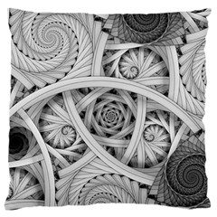 Fractal Wallpaper Black N White Chaos Large Flano Cushion Case (Two Sides)