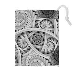 Fractal Wallpaper Black N White Chaos Drawstring Pouches (Extra Large)