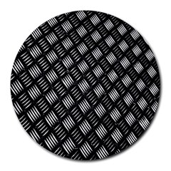 Abstract Of Metal Plate With Lines Round Mousepads