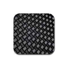 Abstract Of Metal Plate With Lines Rubber Coaster (square)