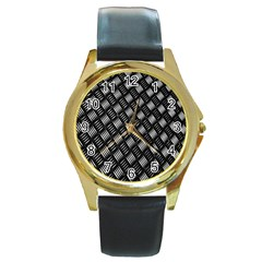 Abstract Of Metal Plate With Lines Round Gold Metal Watch