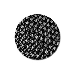 Abstract Of Metal Plate With Lines Magnet 3  (round)