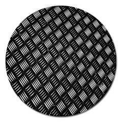 Abstract Of Metal Plate With Lines Magnet 5  (round)