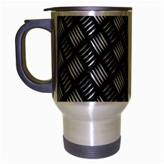 Abstract Of Metal Plate With Lines Travel Mug (silver Gray)