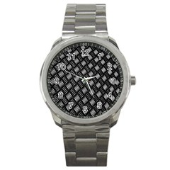 Abstract Of Metal Plate With Lines Sport Metal Watch