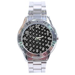 Abstract Of Metal Plate With Lines Stainless Steel Analogue Watch