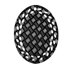 Abstract Of Metal Plate With Lines Oval Filigree Ornament (two Sides)