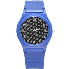 Abstract Of Metal Plate With Lines Round Plastic Sport Watch (s)