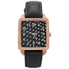 Abstract Of Metal Plate With Lines Rose Gold Leather Watch