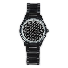 Abstract Of Metal Plate With Lines Stainless Steel Round Watch