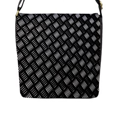 Abstract Of Metal Plate With Lines Flap Messenger Bag (l)