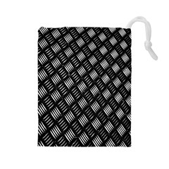 Abstract Of Metal Plate With Lines Drawstring Pouches (large)