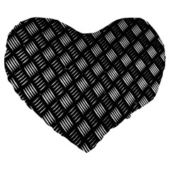 Abstract Of Metal Plate With Lines Large 19  Premium Flano Heart Shape Cushions