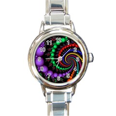 Fractal Background With High Quality Spiral Of Balls On Black Round Italian Charm Watch