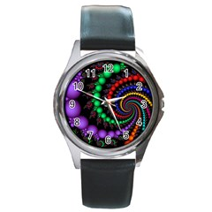 Fractal Background With High Quality Spiral Of Balls On Black Round Metal Watch