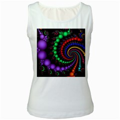 Fractal Background With High Quality Spiral Of Balls On Black Women s White Tank Top