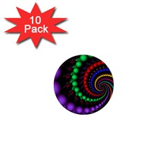 Fractal Background With High Quality Spiral Of Balls On Black 1  Mini Buttons (10 Pack)