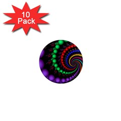 Fractal Background With High Quality Spiral Of Balls On Black 1  Mini Magnet (10 pack)