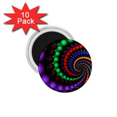 Fractal Background With High Quality Spiral Of Balls On Black 1.75  Magnets (10 pack)