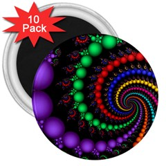 Fractal Background With High Quality Spiral Of Balls On Black 3  Magnets (10 Pack)