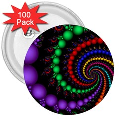 Fractal Background With High Quality Spiral Of Balls On Black 3  Buttons (100 Pack)