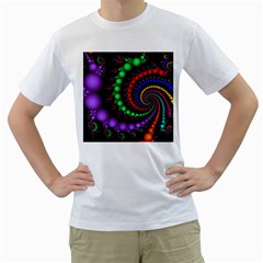 Fractal Background With High Quality Spiral Of Balls On Black Men s T-Shirt (White) (Two Sided)