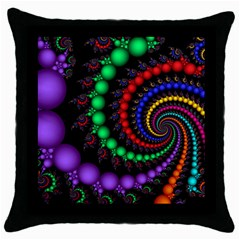 Fractal Background With High Quality Spiral Of Balls On Black Throw Pillow Case (Black)