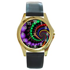 Fractal Background With High Quality Spiral Of Balls On Black Round Gold Metal Watch