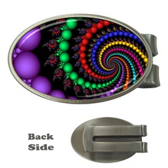 Fractal Background With High Quality Spiral Of Balls On Black Money Clips (oval)