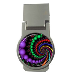 Fractal Background With High Quality Spiral Of Balls On Black Money Clips (round)