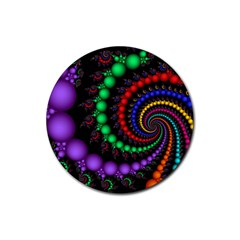 Fractal Background With High Quality Spiral Of Balls On Black Rubber Coaster (round)