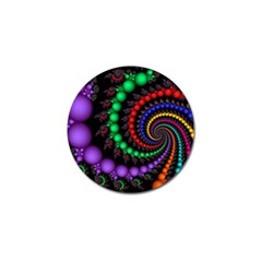 Fractal Background With High Quality Spiral Of Balls On Black Golf Ball Marker