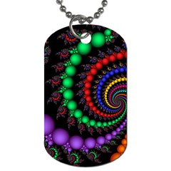 Fractal Background With High Quality Spiral Of Balls On Black Dog Tag (Two Sides)