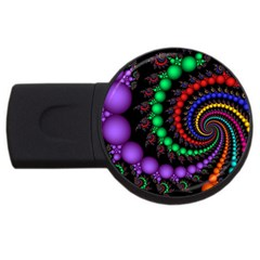 Fractal Background With High Quality Spiral Of Balls On Black Usb Flash Drive Round (2 Gb)