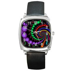 Fractal Background With High Quality Spiral Of Balls On Black Square Metal Watch