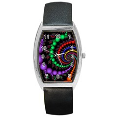 Fractal Background With High Quality Spiral Of Balls On Black Barrel Style Metal Watch