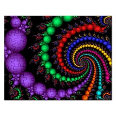Fractal Background With High Quality Spiral Of Balls On Black Rectangular Jigsaw Puzzl