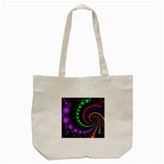 Fractal Background With High Quality Spiral Of Balls On Black Tote Bag (cream)